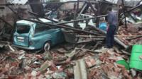 Tornado damage in Dolores, Uruguay