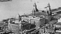 Liverpool waterfront in the archive footage