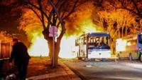Turkish army service buses burn after an explosion