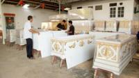 Coffins being prepared in Bangkok