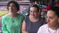 Three women at Philadelphia baseball game