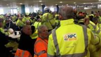 Hinkley Point C workers staging a sit-in in the canteen