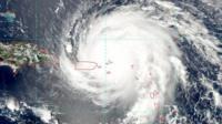 NOAA satellite of Hurricane Irma with the eye heading towards the British Virgin Islands