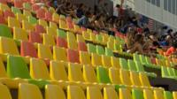 Empty seats in a stadium used for the Rio Olympics
