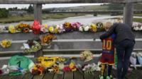 Floral tributes at crash scene