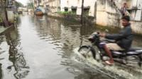 Motorbike in flood