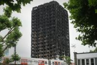 The burned remains of Grenfell Tower