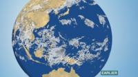 BBC Weather satellite showing cloud associated with developing storms over the Pacific