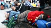 People sleeping at Heathrow Terminal 5