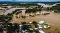 Aerial view of the flooded Municipality of Kabacan, North Cotabato, on the southern island of Mindanao