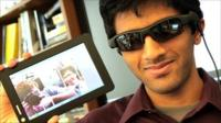 Carnegie Mellon student wearing facial recognition glasses