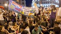 "Spain's ""indignants"" protesters demonstrate at the Puerta del Sol square in Madrid"