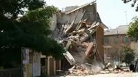 Building damaged by earthquake in northern Italy