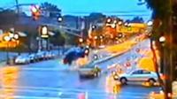 Car mid-air after crash