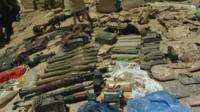 Confiscated explosives and rocket-propelled grenades