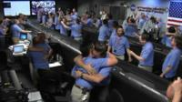 Celebrations in the NASA control room