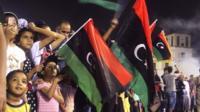 Crowd celebrate in Tripoli in Libya