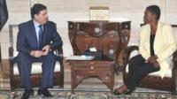 Baroness Amos meets Syria's new PM Wael al-Halqi in Damascus on 14/08/12