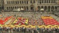 A carpet made of flowers, inspired by Africa, on the Grand-Place in Brussels is drawing thousands of tourists