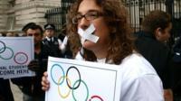 London Metropolitan University students protest outside Downing Street