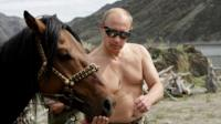 Shirtless Putin with horse