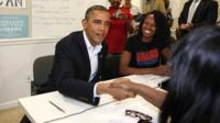 President Obama meets campaign volunteers