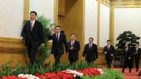 The new Standing Committee files onto the stage in Beijing on 15 November 2012