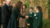 The Duchess of Cambridge meets pupils