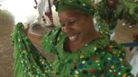 Woman dancing in Baragua, Cuba