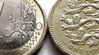 one euro coin and a one pound coin