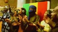Malian singers recording a song calling for peace