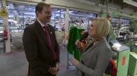 Tom Hainsworth and Steph McGovern inside textile factory