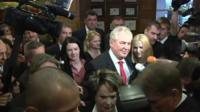Milos Zeman surrounded by media and fan