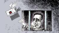 Cartoon of political prisoner injail