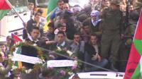 Mourners at funeral of Arafat Jaradat