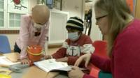 Children using art therapy
