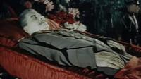 Joseph Stalin in an open coffin