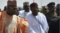 "Nigeria""s President Goodluck Jonathan (C) arrives on a working visit to Borno state"