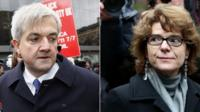 Chris Huhne and Vicky Pryce arriving at Southwark Crown Court earlier