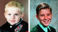 Johnathan Ball, three, and Tim Parry, 12