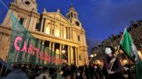 """Occupy London Stock Exchange protest: City protesters settle in for a second night on the steps of St Paul""""s Cathedral in London"""