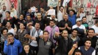 Supporters of Bassem Youssef in Cairo