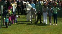Easter Bunny and President Obama start the Easter egg roll