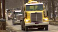 Fracking trucks in Pennsylvania