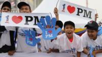 Supporters of Malaysian Prime Minister Najib Razak