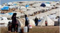 Refugees in Atmeh camp, in Idlib, northern Syria