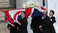 Coffin of Margaret Thatcher carried into Palace of Westminster