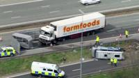 Scene of accident on M62 motorway