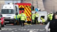 The scene of a road traffic accident on the westbound carriage of the M62 near Pontefract in West Yorkshir