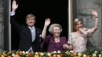 Dutch King Willem-Alexander, Queen Maxima, right, and Princess Beatrix